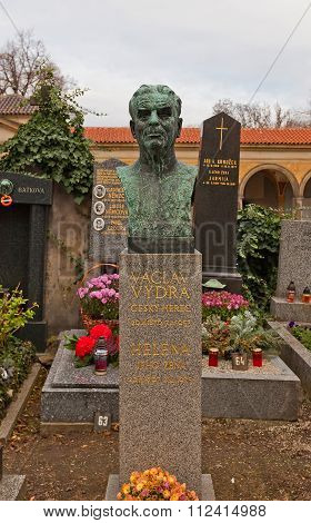 Actor Vaclav Vydra Tomb In Vysehrad Cemetery, Prague
