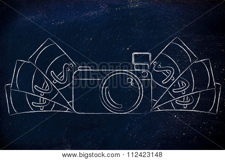 Camera Surrounded By Cash, Concept Of Selling Photos