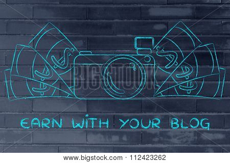 Camera Surrounded By Cash, With Text Earn With Your Blog