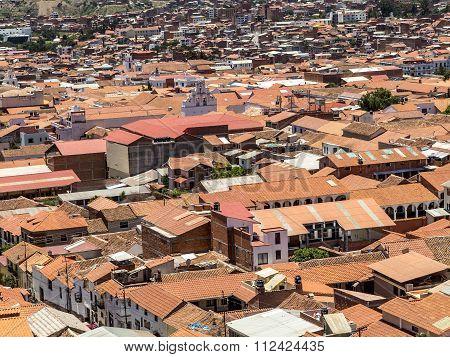 skyline of Sucre Bolivia under blue sky poster