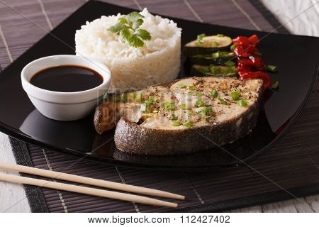 Healthy Food: Steak Fish, Rice And Soy Sauce Close-up. Horizontal