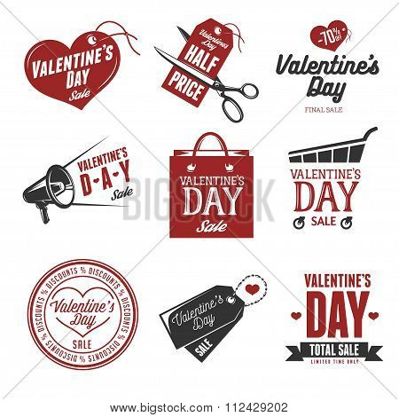 Set of valentines day sales labels. Vintage vector illustration.