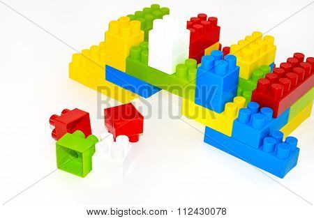House Building From Lego Bricks On A White Background