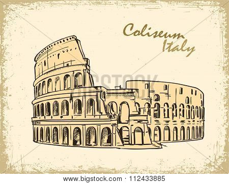 Coliseum in Rome, Italy. Colosseum hand drawn vector illustration