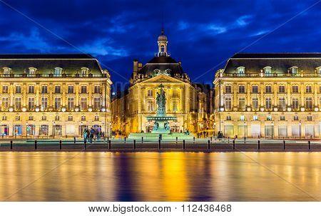 View of Place de la Bourse in Bordeaux - France poster