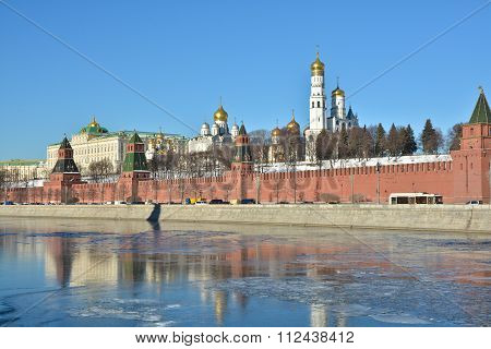 Moscow river the Kremlin. Winter landscape of the Moscow river with views of the Kremlin. poster