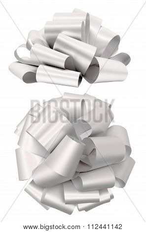 White lush bow isolated clipping path