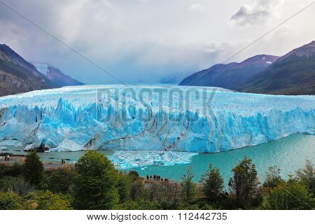Los Glaciares National Park in Argentina. Colossal Perito Moreno glacier in Lake Argentino.  Windy summer day