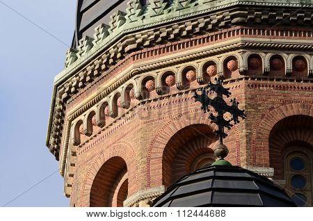 brick orthodox Seminary church dome with cross ,Chernivtsi,Ukraine