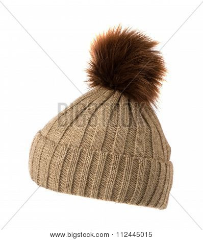Knitted Hat Isolated On White Background . Light Beige With Pompons