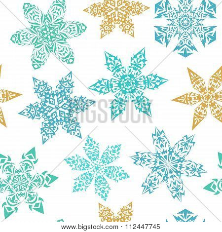 Winter Seamless Pattern With Ornamental Snowflakes