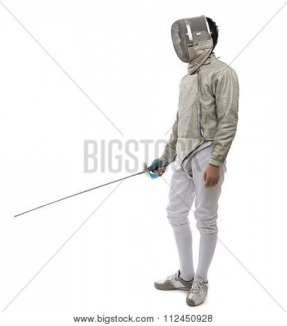 Teen fencer with space for your text.