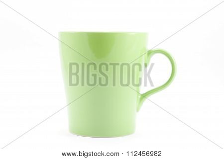 Green Mug Isolated On White Background