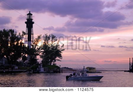 dawn at the hillsboro inlet and lighthouse in pompano beach florida poster