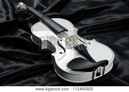 Photograph of a white violin
