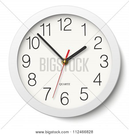 Round Wall Clock Without Divisions In White Body Isolated