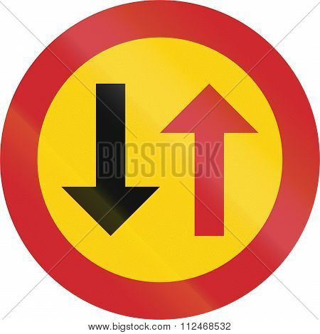 Road Sign Used In Sweden - Priority For Oncoming Vehicles