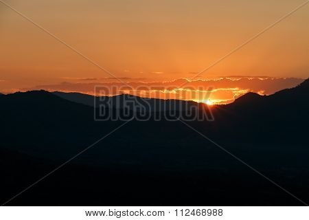 Sunset Landscape Orange Sky And Silhouette Mountian
