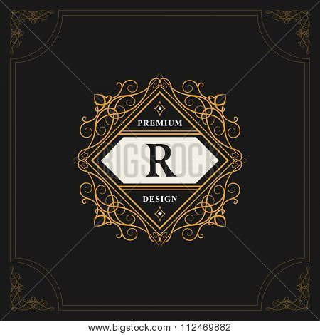 Vector illustration of Monogram design elements graceful template. Elegant line art logo design. Emblem Letter R. Retro Vintage Insignia or Logotype. Business sign identity label badge Cafe Hotel poster