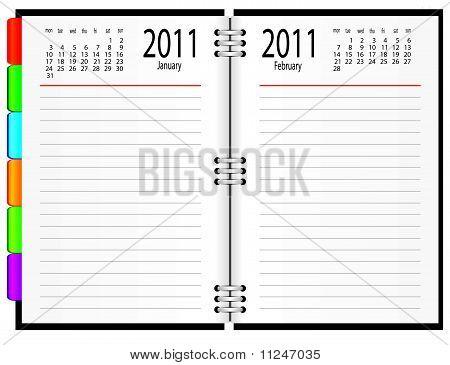 A notebook with a calendar