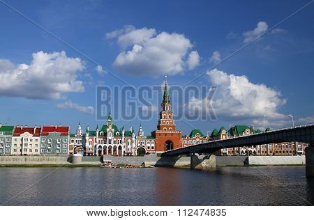 Embankment Bruges and the Spasskaya Tower in Yoshkar-Ola