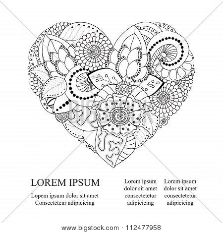Stock Vector Abstract Isolated Heart. Card, Poster, Banner Template