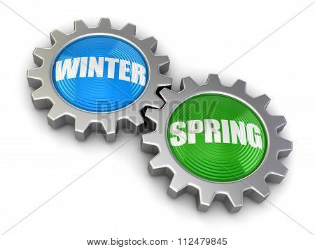 Gears with Spring and Winter. Image with clipping path