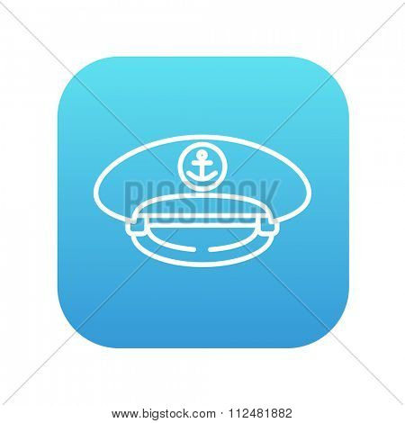 Captain peaked cap line icon for web, mobile and infographics. Vector white icon on the blue gradient square with rounded corners isolated on white background.