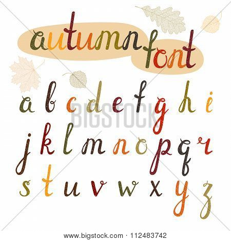 Hand-drawn autumn font.