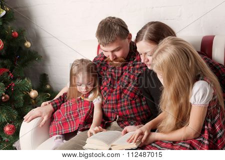Parents and children reading stories together beside Christmas tree. poster