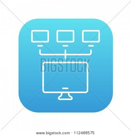 Group of monitors linked in a hierarchical network line icon for web, mobile and infographics. Vector white icon on the blue gradient square with rounded corners isolated on white background.