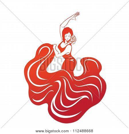 flamenco woman in expressive pose flat silhouette