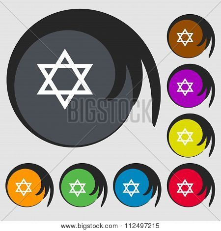 Pentagram Icon. Symbols On Eight Colored Buttons.
