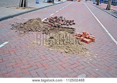 Brick Road Under Repair, Modern Brick Highway Reconstruction
