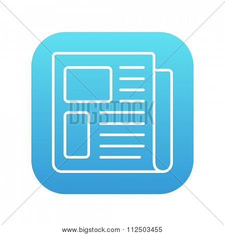 Newspaper line icon for web, mobile and infographics. Vector white icon on the blue gradient square with rounded corners isolated on white background.