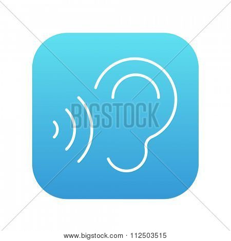 Ear and sound waves line icon for web, mobile and infographics. Vector white icon on the blue gradient square with rounded corners isolated on white background.