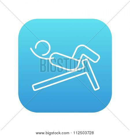 Man doing crunches on incline bench line icon for web, mobile and infographics. Vector white icon on the blue gradient square with rounded corners isolated on white background.