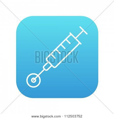 In vitro fertilisation line icon for web, mobile and infographics. Vector white icon on the blue gradient square with rounded corners isolated on white background.