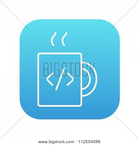 Cup of coffee with a code sign line icon for web, mobile and infographics. Vector white icon on the blue gradient square with rounded corners isolated on white background.