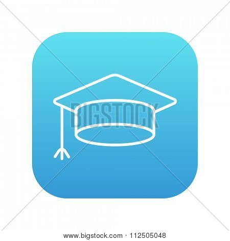 Graduation cap line icon for web, mobile and infographics. Vector white icon on the blue gradient square with rounded corners isolated on white background.