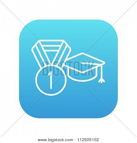 Graduation cap with medal line icon for web, mobile and infographics. Vector white icon on the blue gradient square with rounded corners isolated on white background.