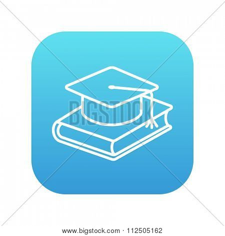 Graduation cap laying on book line icon for web, mobile and infographics. Vector white icon on the blue gradient square with rounded corners isolated on white background.