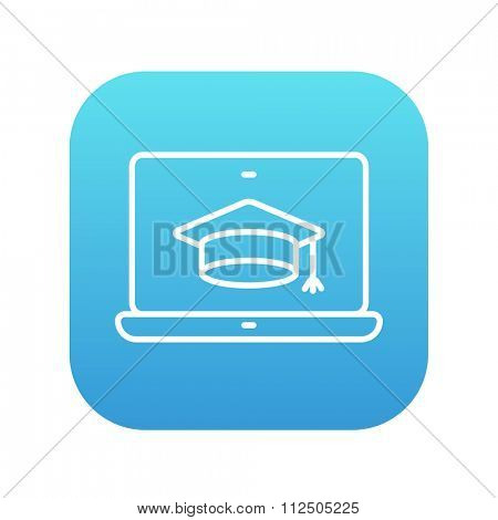 Laptop with graduation cap on a screen line icon for web, mobile and infographics. Vector white icon on the blue gradient square with rounded corners isolated on white background.