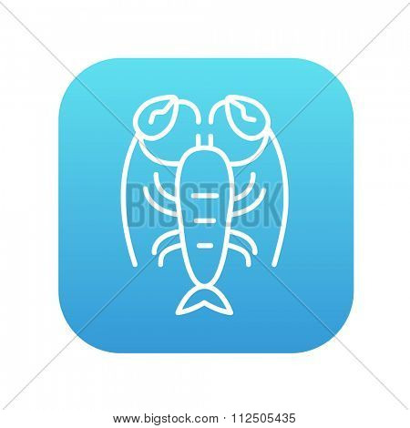 Lobster line icon for web, mobile and infographics. Vector white icon on the blue gradient square with rounded corners isolated on white background. poster