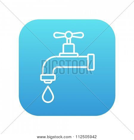 Dripping tap with drop line icon for web, mobile and infographics. Vector white icon on the blue gradient square with rounded corners isolated on white background.