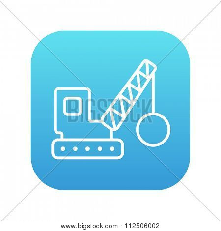 Demolition trailer line icon for web, mobile and infographics. Vector white icon on the blue gradient square with rounded corners isolated on white background.
