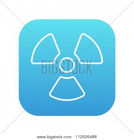 Ionizing radiation sign line icon for web, mobile and infographics. Vector white icon on the blue gradient square with rounded corners isolated on white background.