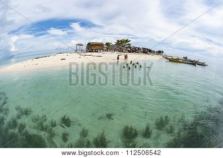 Fisheye View Of Gusungan Sipadan Island Located At Semporna, Sabah, Malaysia.