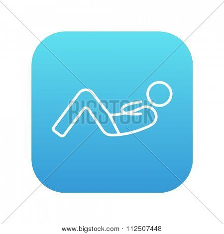 Man doing abdominal crunches line icon for web, mobile and infographics. Vector white icon on the blue gradient square with rounded corners isolated on white background.