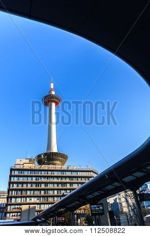 Kyoto Tower With Blue Sky In Japan.
